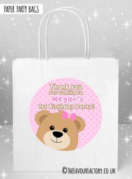 Kids Party Bags Birthday Teddy Bear Pinks x5