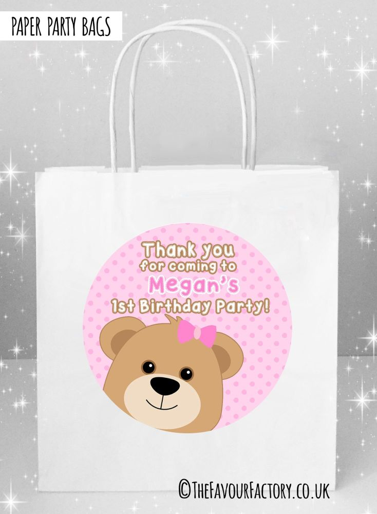 Pink Teddy Bear Kids Party Bags x1