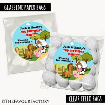 Kids Party Favours Sweet Bags Kits Farm Friends x12