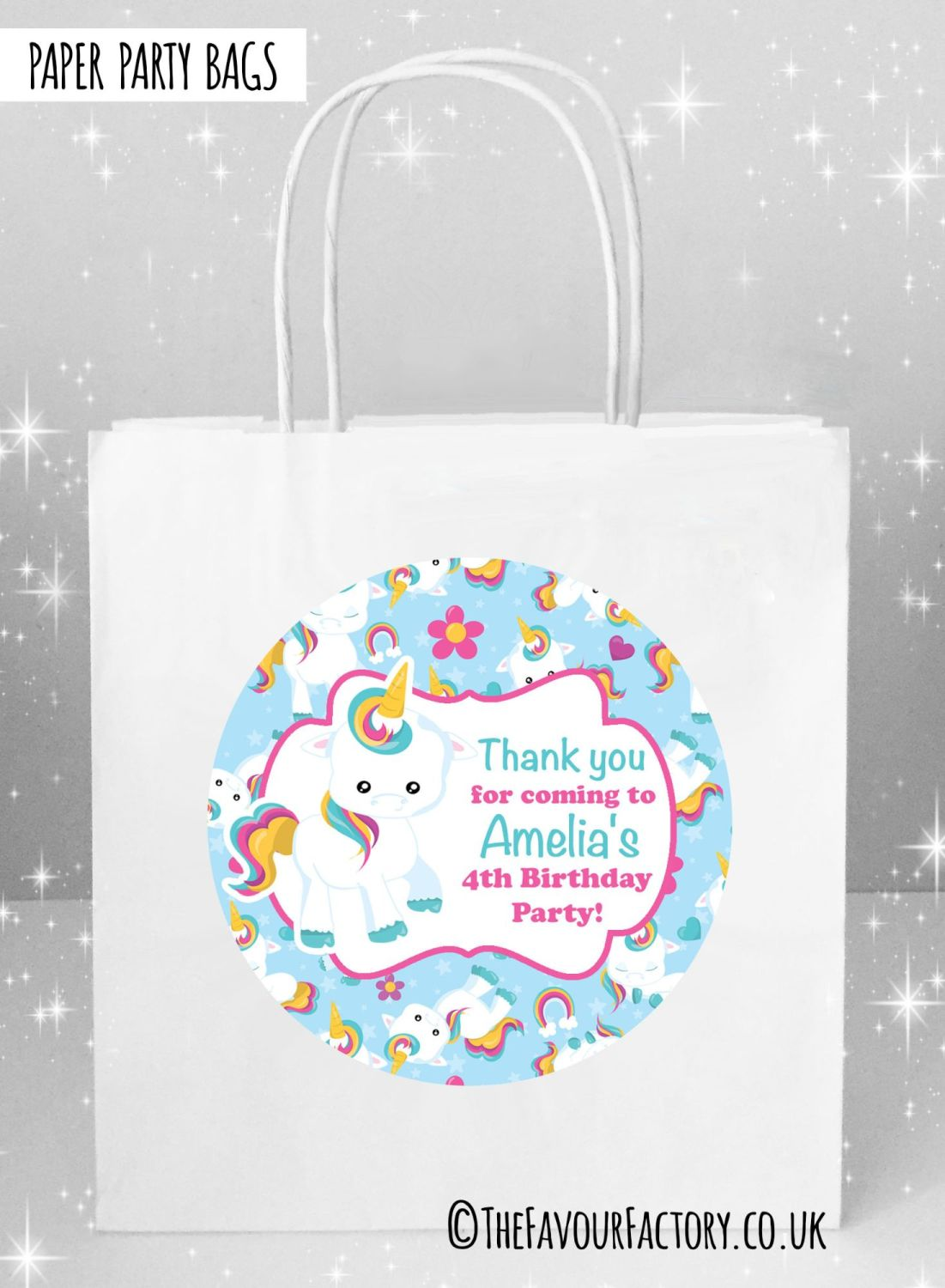Kids Party Bags Baby Unicorn x5
