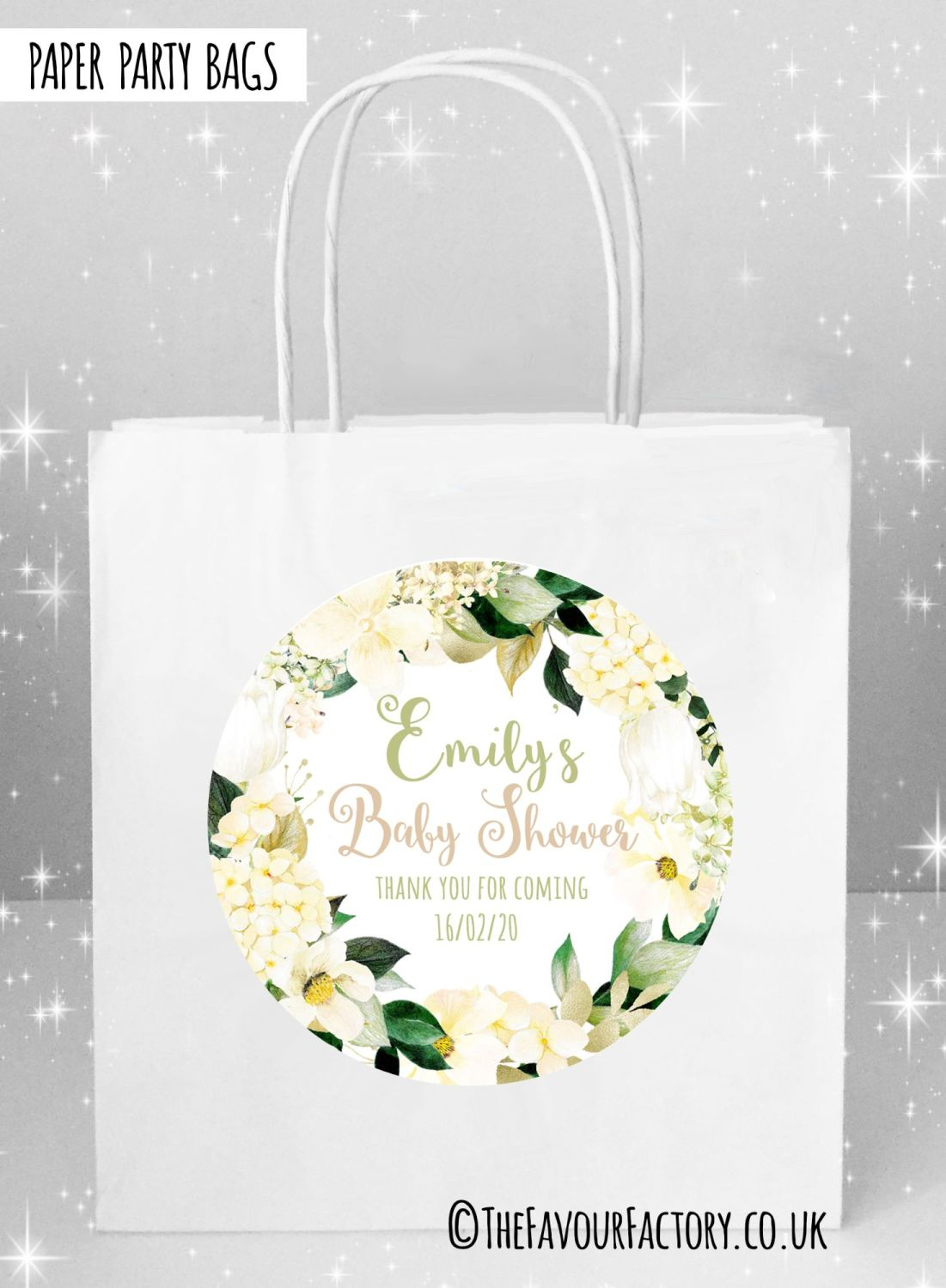 Baby Shower Party Bags Hydrangeas Neutral Colours x5