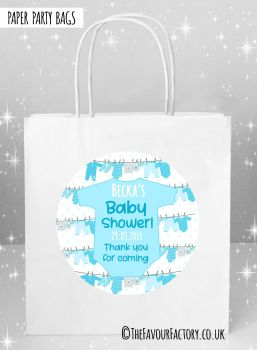 Baby Shower Party Bags Clothes Line Blue x5