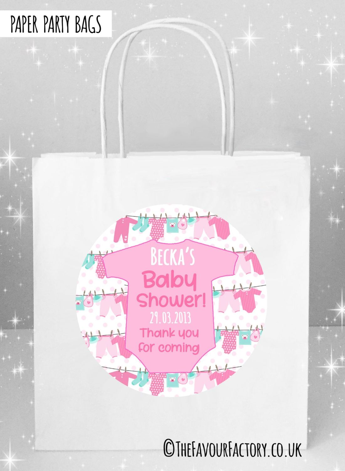 Baby Shower Party Bags Clothes Line Pink x5