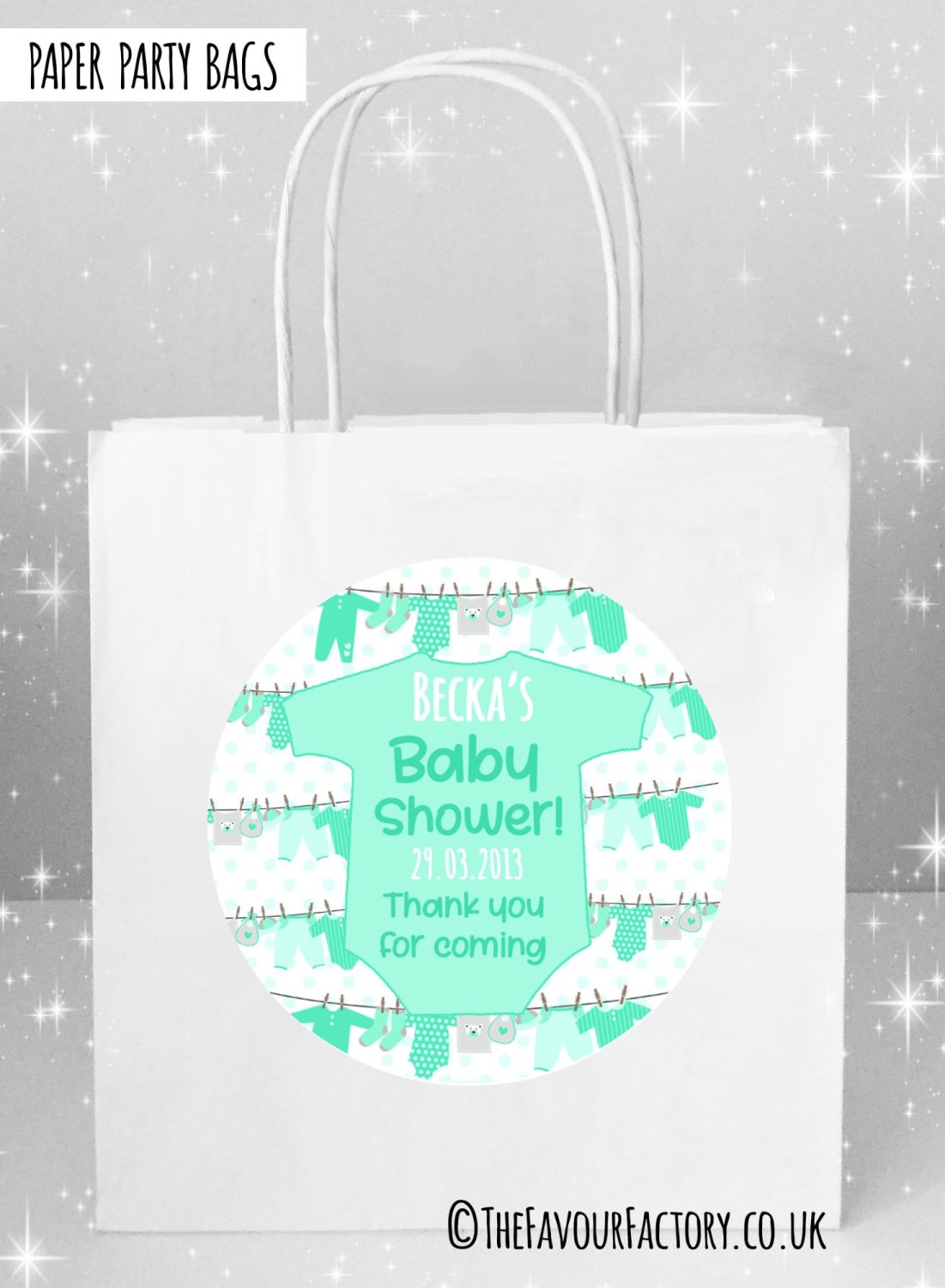 Baby Shower Party Bags Clothes Line Green x5