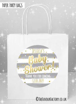 Baby Shower Party Bags Gold Confetti Grey Stripes x5