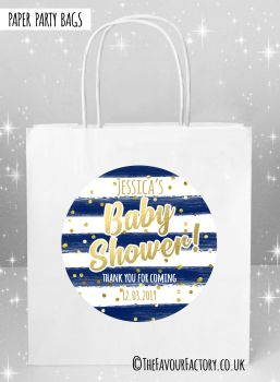 Baby Shower Party Bags Gold Confetti Navy Stripes x5