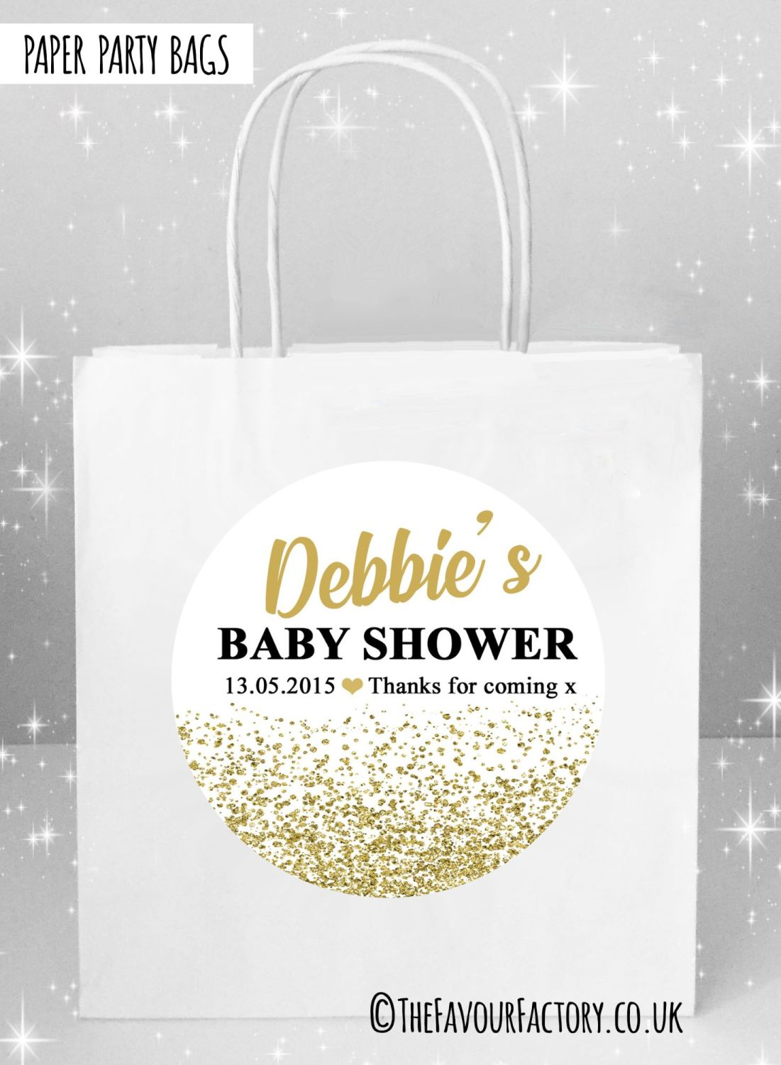 Baby Shower Party Bags Gold Glitter Confetti x5