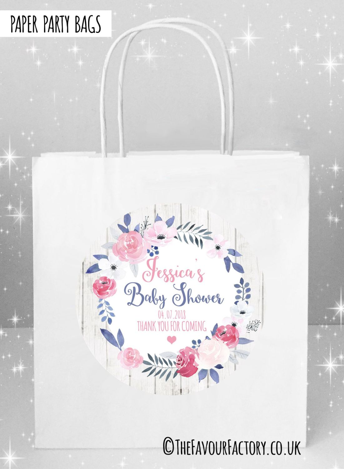 Baby Shower Party Bags midnight Rose Floral Wreath x5