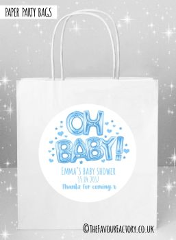 Baby Shower Party Bags Oh Baby Foil Balloons Blue x5