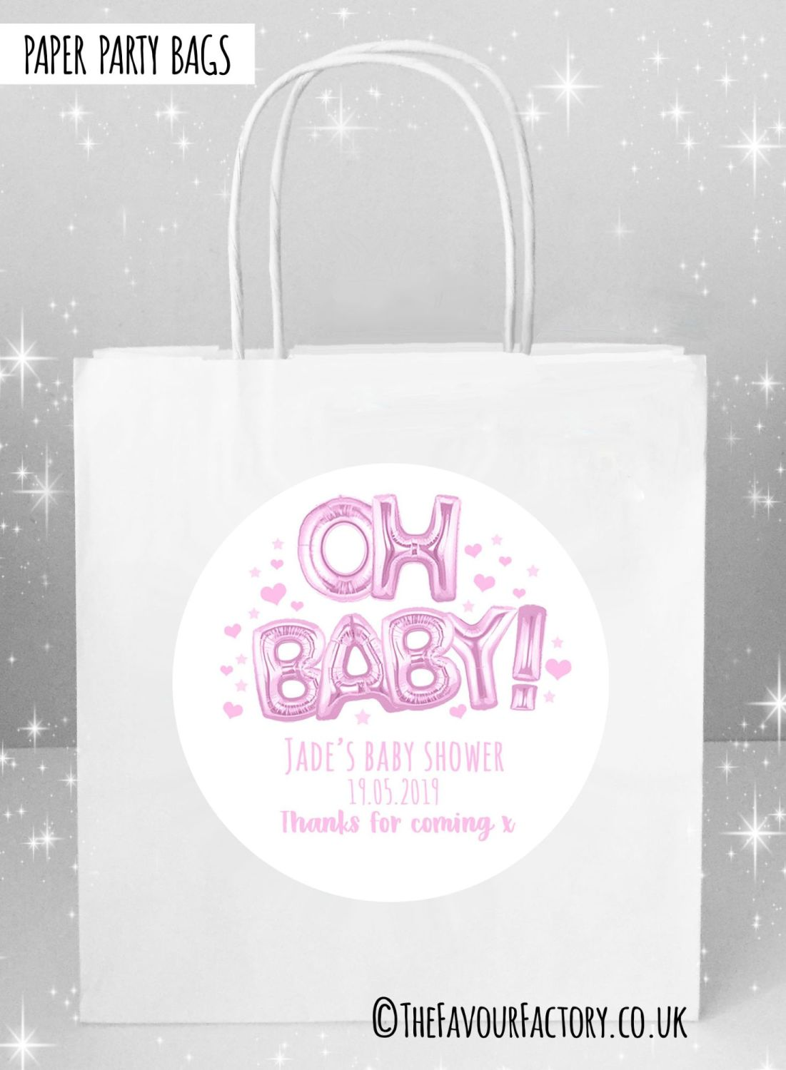 Baby Shower Party Bags Oh Baby Foil Balloons Pink x5