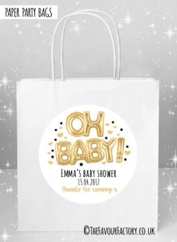 Baby Shower Party Bags Oh Baby Foil Balloons Gold x5