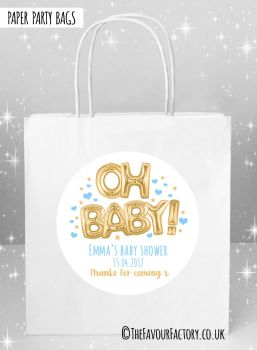 Baby Shower Party Bags Oh Baby Foil Balloons Gold and Blue x5