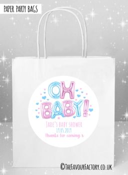 Baby Shower Party Bags Oh Baby Foil Balloons Pink and Blue x5