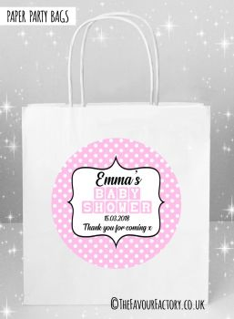 Baby Shower Party Bags Pink Polka Dots x5