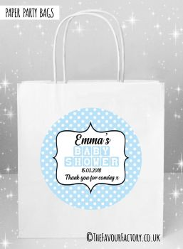 Baby Shower Party Bags Polka Dots Blue x5