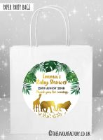Baby Shower Party Bags Gold Safari Animals x5