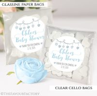 Baby Shower Party Favours Sweet Bags Hearts Garland Blue x12