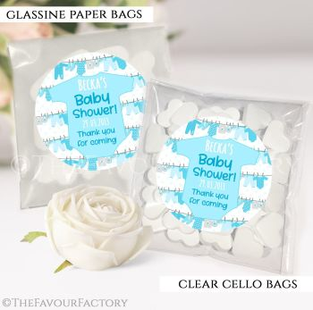 Baby Shower Party Favours Sweet Bags Clothes Line Blue x12