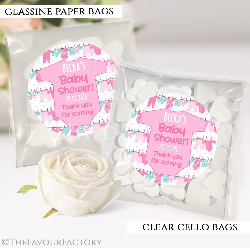 Baby Shower Party Favours Sweet Bags Clothes Line Pink x12