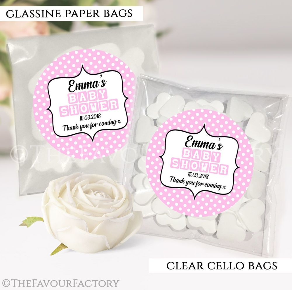 Baby Shower Party Favours Sweet Bags Pink Polka Dots x12
