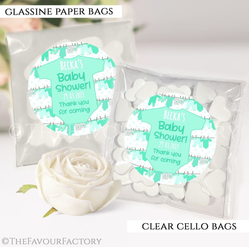 Baby Shower Party Favours Sweet Bags Clothes Line Green x12