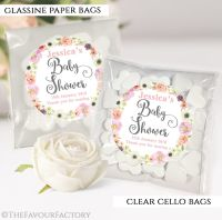 Baby Shower Party Favours Sweet Bags Jessica Floral wreath x12