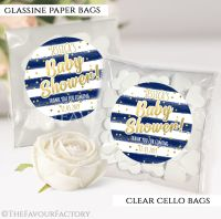 Baby Shower Party Favours Sweet Bags Gold Confetti Navy Stripes x12