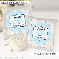 Baby Shower Party Favours Sweet Bags Blue Polka Dots x12