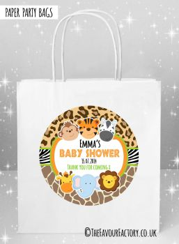 Baby Shower Party Bags Wild Animals Prints x5