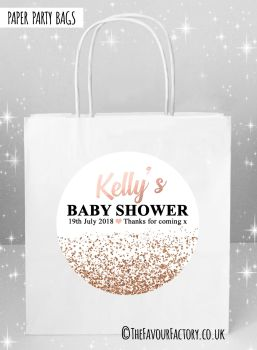 Baby Shower Party Bags Rose Gold Glitter Confetti x5