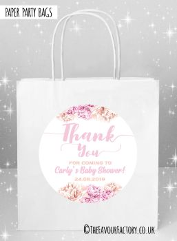 Baby Shower Party Bags Thank You Florals Pinks x5