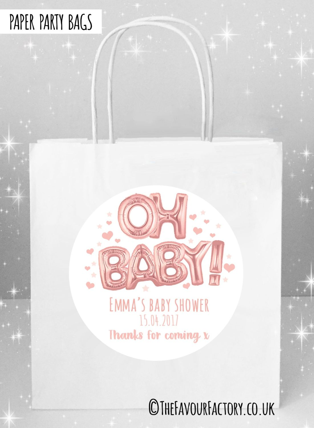 Baby Shower Party Bags Oh Baby Foil Balloons Rose Gold x5