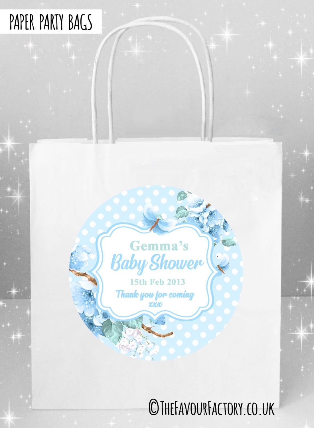 Baby Shower Party Bags Polka Dots Florals Blue x5