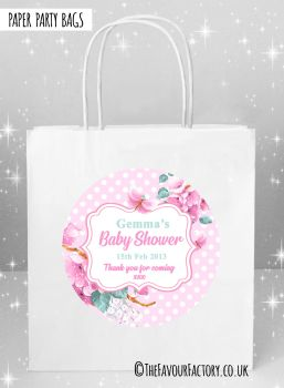 Baby Shower Party Bags Polka Dots Florals Pink x5