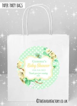 Baby Shower Party Bags Polka Dots Florals Mint x5