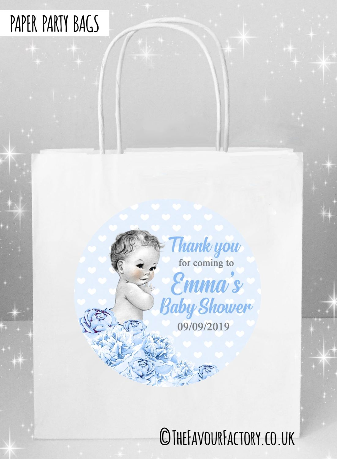 Baby Shower Party Bags Vintage Baby Boy x5