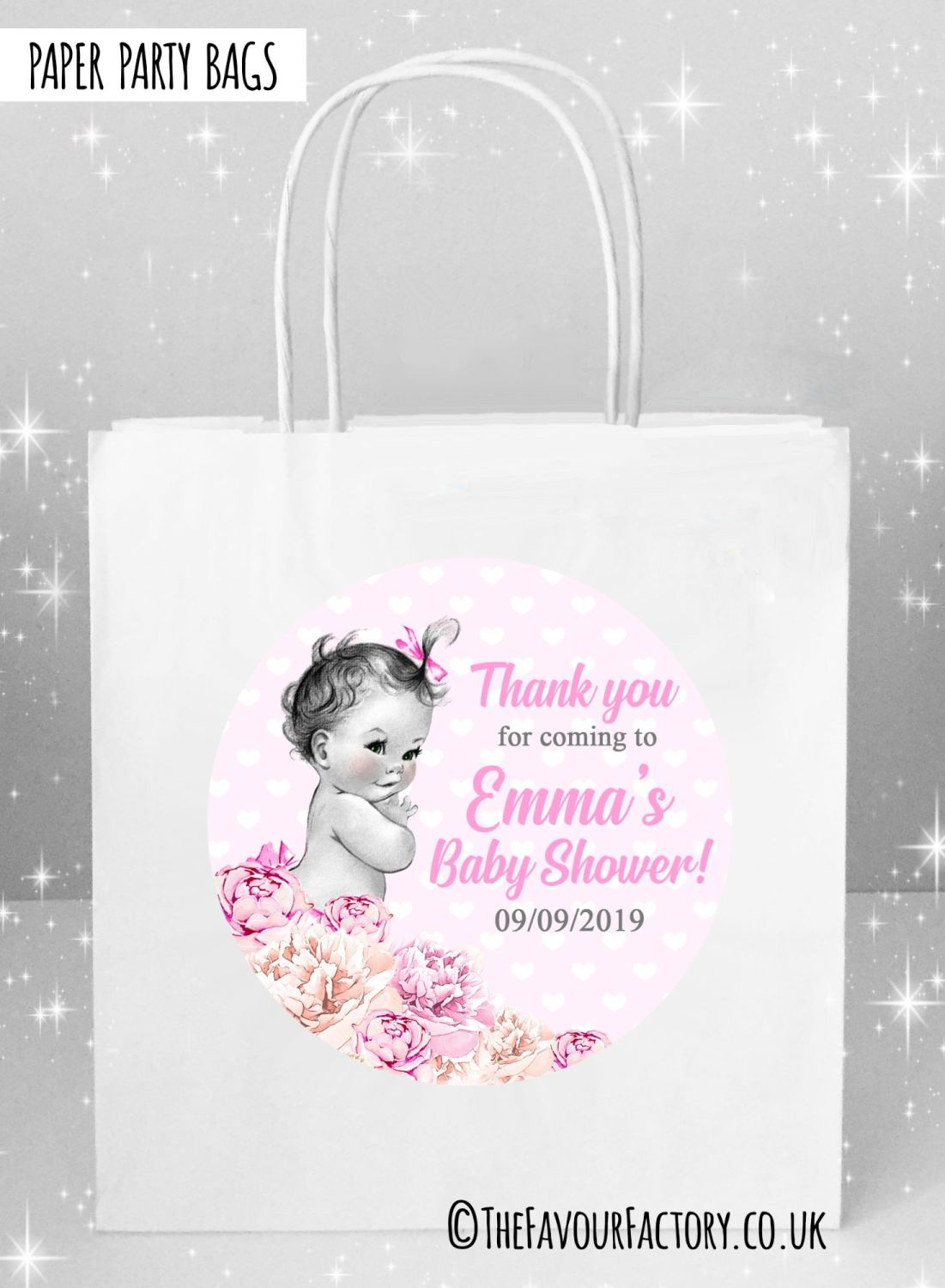 Baby Shower Party Bags Vintage Baby Girl x5