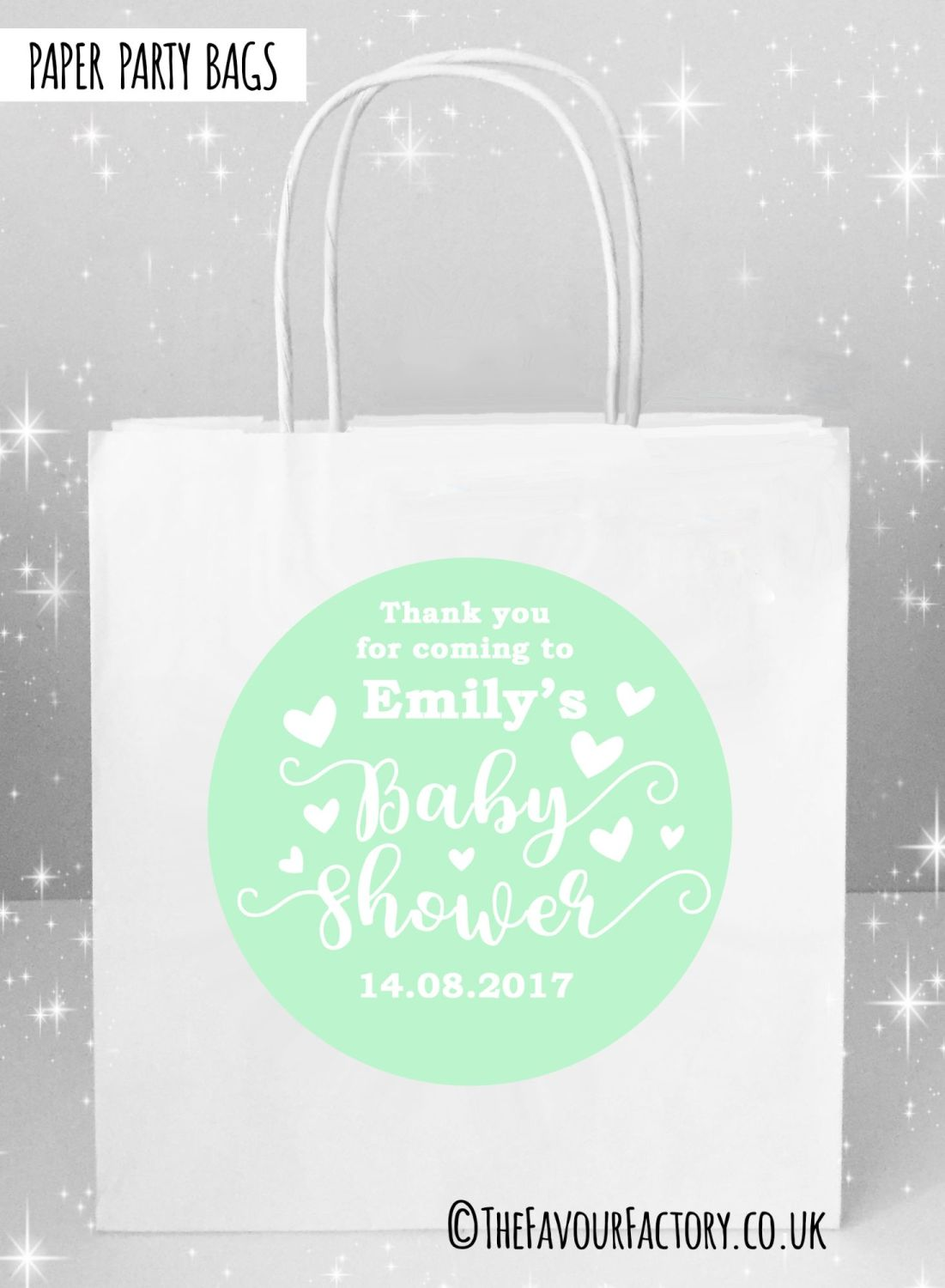 Baby Shower Party Bags Love Hearts Mint x5