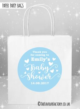 Baby Shower Party Bags Love Hearts Blue x5