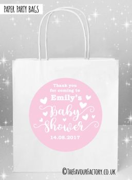 Baby Shower Party Bags Love Hearts Pink x5