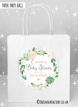 Baby Shower Party Bags Floral Succulents Wreath x5