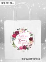 Baby Shower Party Bags Blush Burgundy Floral Wreath x5