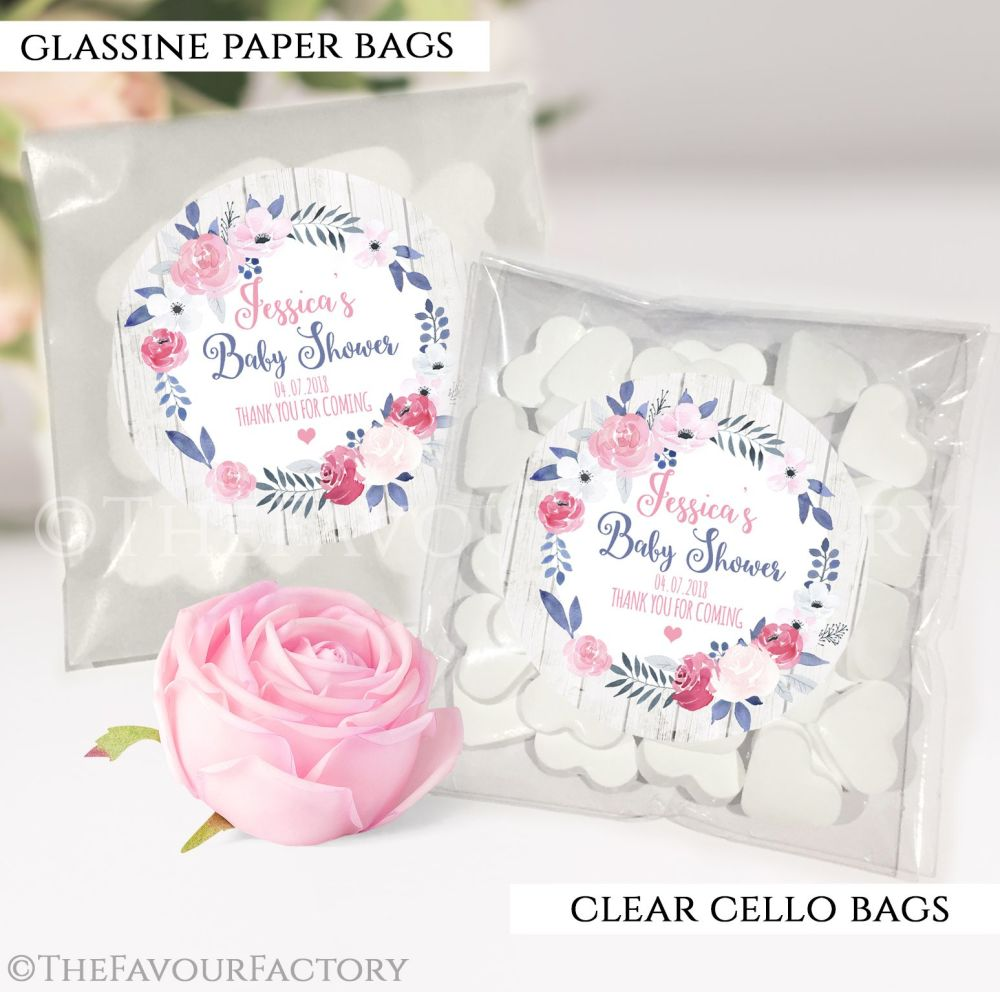 Baby Shower Party Favours Sweet Bags Midnight Rose x12