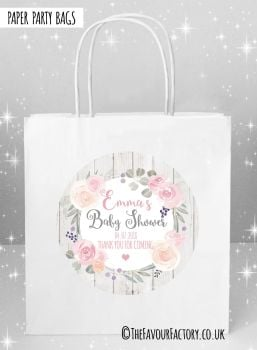 Baby Shower Party Bags Roses and Eucalyptus x5