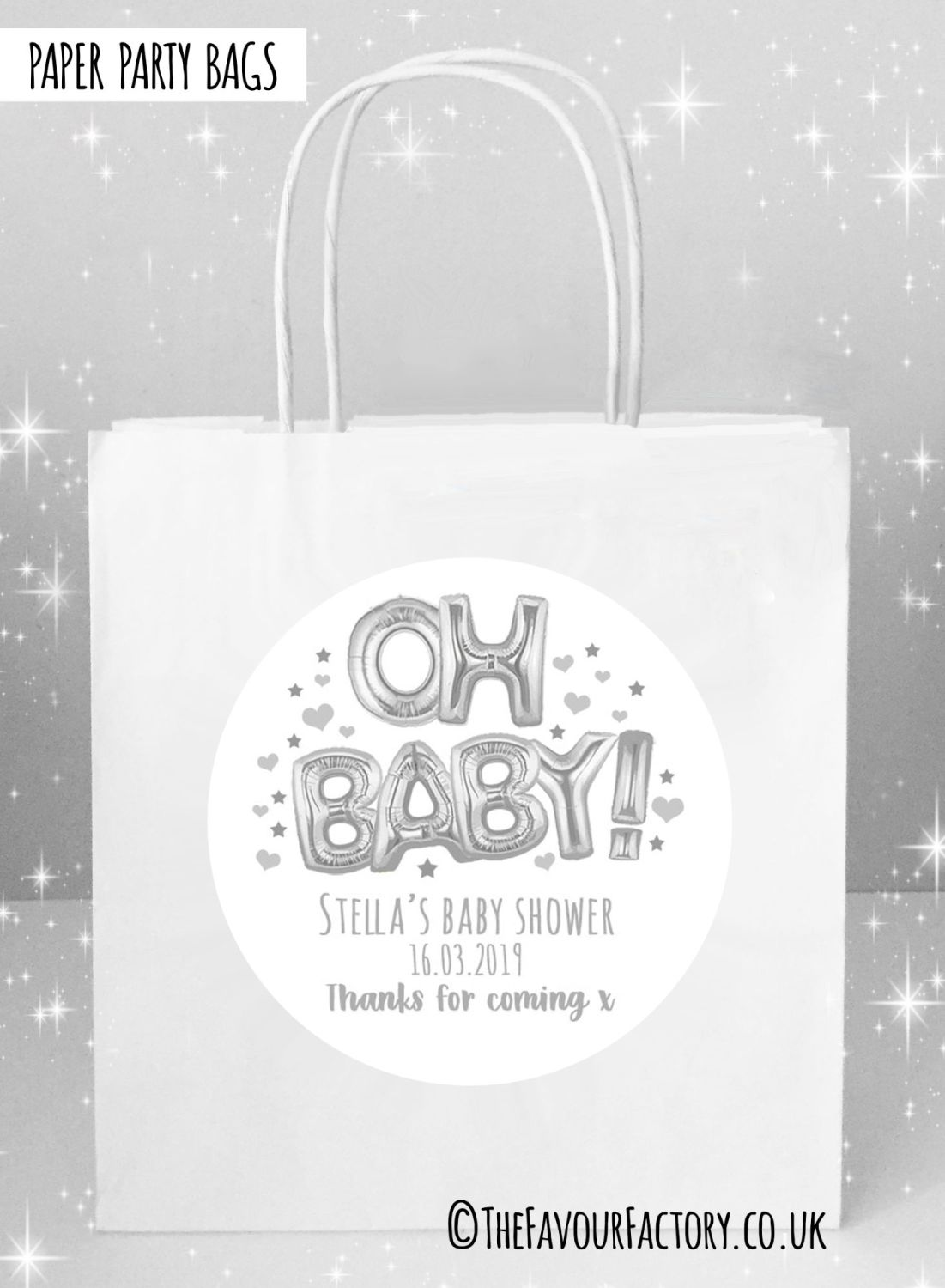 Baby Shower Party Bags Oh Baby Foil Balloons Silver x5