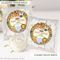 Baby Shower Party Favours Sweet Bags Wild Animals Prints x12
