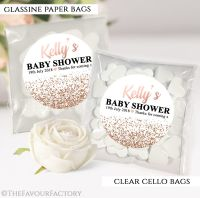 Baby Shower Party Favours Sweet Bags Rose Gold Glitter Confetti x12