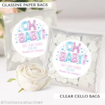 Baby Shower Party Favours Sweet Bags Oh Baby Pink and Blue Foil Balloons x12