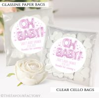 Baby Shower Party Favours Sweet Bags Oh Baby Pink Foil Balloons x12