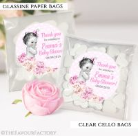 Baby Shower Party Favours Sweet Bags Vintage Baby Girl x12